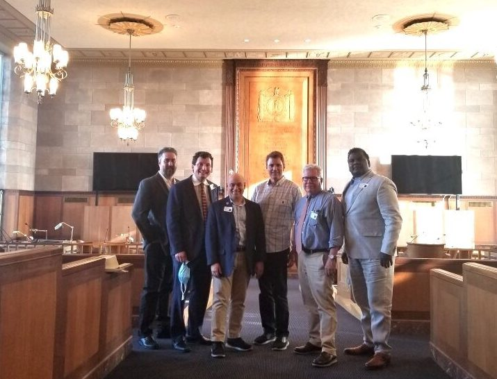 Pictured from left: Realtor Robert Shandley, HGAR Government Affairs Director Philip Weiden, BHGRE Choice Principal Broker & Former HGAR President Barry Kramer, BHGRE Choice Principal Broker John Crittenden, HGAR CEO Richard Haggerty and HGAR President-elect Anthony Domathoti.